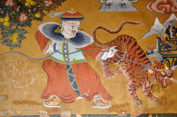 Painting of the Mongolian and the tiger, entrance wall