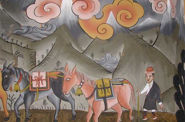 A mule train, (painting by Ngawang Jampel)